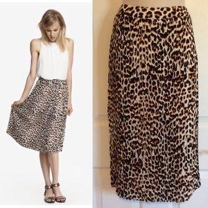 Express pleated midi animal print skirt